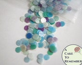 Biodegradable confetti, edible confetti for cake decorating, green blue and purple dots for cupcakes and cake pops, mermaid birthday parties