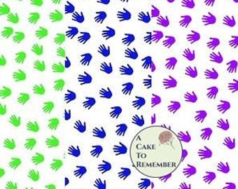 Digital download--nine colors of Printable handprints wafer paper file for cake decorating or cupcake decorating