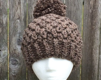 Instant Download Knit Pattern, Textured Pom-Pom Hat, Knit Pattern, Womens Hat, Pom-Pom Hat Pattern