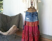 Boho hippie skirt, button fly hippie skirt, long layered skirt, upcycled skirt, recycled clothing