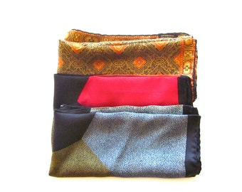 Vintage Ashear silk scarves, made in Italy, set of 3 pocket squares,  women's accessories