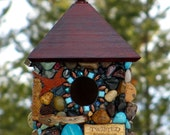 Mosaic Outdoor hanging Stone Birdhouse with Wine Corks and Turquoise stones roses and lady bugs