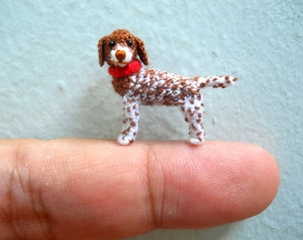 Miniature Pointer Dog - Tiny Crochet Dog Stuffed Animals - Made To Order