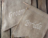 Bride and Groom chair back hessian bunting or pennant