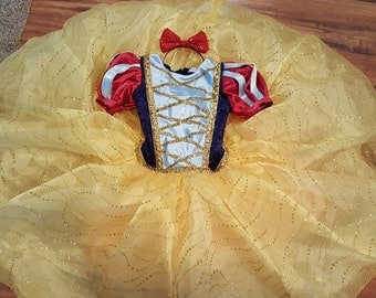 Snow White Ball Gown with Deluxe Cape and Red Hairbow