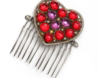 Red & Purple Rhinestone Heart Hair Comb - Vintage Brooch Accent - Bridal Hairstyle - Soldered - One of a Kind - Handcrafted - 1000340