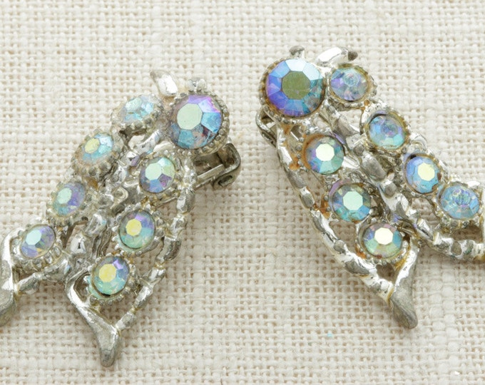 AB Rhinestone Earrings Vintage Clip On Blue Silver Bold Statement | Clip On Earings | Costume Jewelry | True Vintage 16A