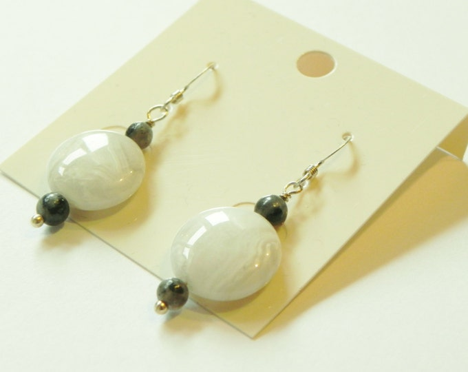 Grey crazy lace agate and black labradorite sterling silver earrings.