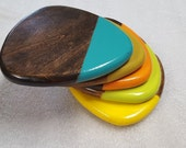 Dipped Paint Reuleaux Wood Coasters Set of 5