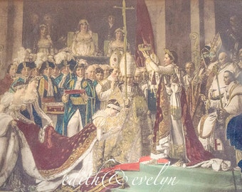 OMG Antique French Print, David Jacques Louis, Coronation, Emperor Napoleon Empress Josephine