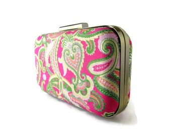 bridesmaid gift Bridesmaid Clutch Paisley Clutch paisley weddings pink and green clutch bridal party Preppy Wedding  Paisley Gifts