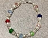 Mothers Birthstone Bracelet, Mothers Bracelet,  Birthstone Jewelry, Grandmothers Birthstone Bracelet, Crystal Birthstone Bracelet