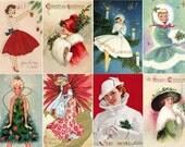 "Large Stickers (each sticker 2.5""x3.5"", pack 8 stickers) Scrapbooking Craft Vintage # Vintage Christmas Dresses FLONZ 220"