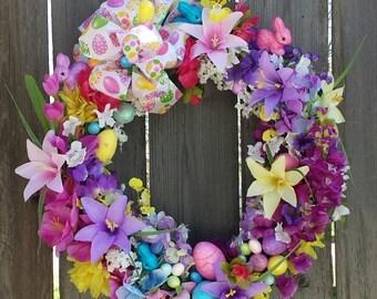 Easter Wreath Eggs Bunnies Lilies Purple