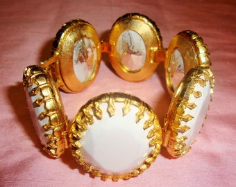 JAY STRONGWATER White Faceted Oval Gemstone Goldtone Fashion Bracelet Vintage 80's