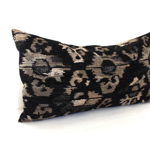 Black Chenille Throw Pillows : Lumbar Pillow Cover Southwest Ikat Chenille Black Pillow Throw