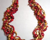 Statement necklace, multi strand necklace, Red and gold, red, gold, freshwater pearls, bamboo coral: Crimson Glory