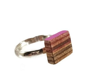 Recycled Skateboard Adjustable Lil Bling Ring