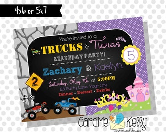 Printable Joint Birthday Party Invitation Monster Trucks and Tiaras - Digital File