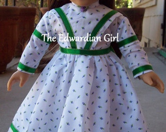 OOAK calico purple, green, gold, white 1850's doll dress. Fits 18 inch play dolls such as American Girl, Springfield, OG. Made in USA