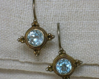 Etruscan Revival Earrings. 925 Silver & Natural Topaz. Aquamarine Blue. Renaissance Vermeil