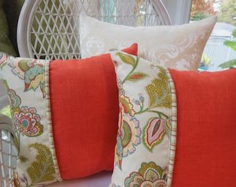 Bohemian Chic Pillow - Autumn Pillow - Pumpkin Orange Pillow - Paisley Pillow - Fall Home Decor Pillow - Autumn Home Decor Trend