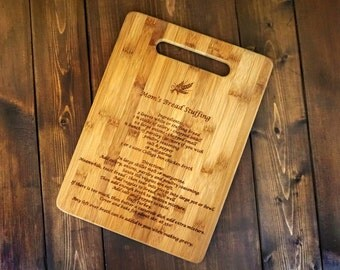 Family Recipe - Custom Engraved Bamboo Cutting Board - 8.5 x 11- Personalized