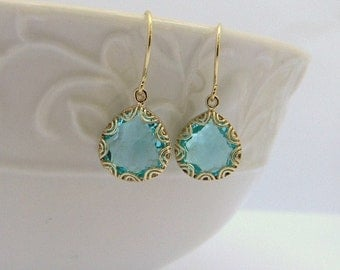Aquamarine  Earrings - Bridesmaid Earrings - Wedding Jewelry - Bridesmaid Gift - Dangle Earrings - Drop Earrings - Gift Idea