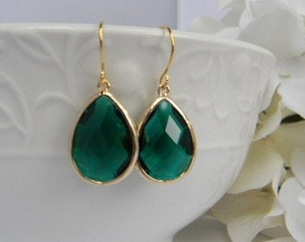 Emerald Earrings - Gold Earrings - Dangle Earrings - Drop Earrings -Bridesmaid Earrings - Wedding Jewelry - Gift For Her - Christmas Gift