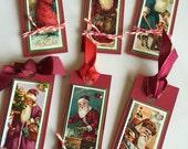 6 Handmade Victorian Santa tags 60% off
