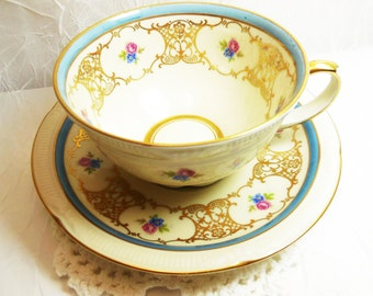 Zeh Scherzer Bavaria Germany US Zone Tea Cup & Saucer, Art Deco style