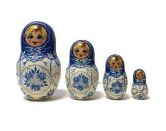 4pc Russian nesting stacking dolls matryoshka, hand painted blue white charming girls, made in Russia