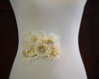 Bridal Lace Flower applique, Bridal lace flower gown sash,Champagne and ivory flower sash, rhinestone and pearl bridal sash, Gown applique