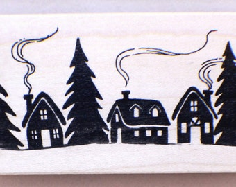 All Night Media Winter Village Homes Houses 937h Wooden Rubber Stamp