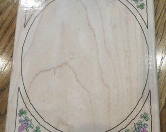 Stamps Happen Oval Clover Frame Xl Large Wooden Rubber Stamp