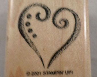 Stampin Up 2001 Whimsical Heart Love Romance  Wooden Rubber Stamp