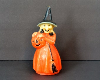 "Vintage Gurley Witch Candle Large Orange Black Wax Unused 8.5"" Halloween Party Decoration Collectible"