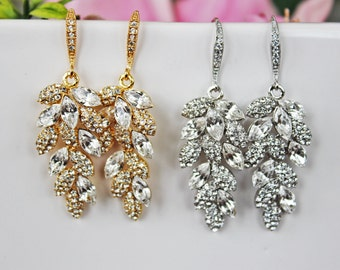 Leafy Chandelier Wedding Earrings, Gold Leafy Crystal Drop Bridal Earrings, Bridal Accessories, Bridesmaid Earrings, Mother of the Bride