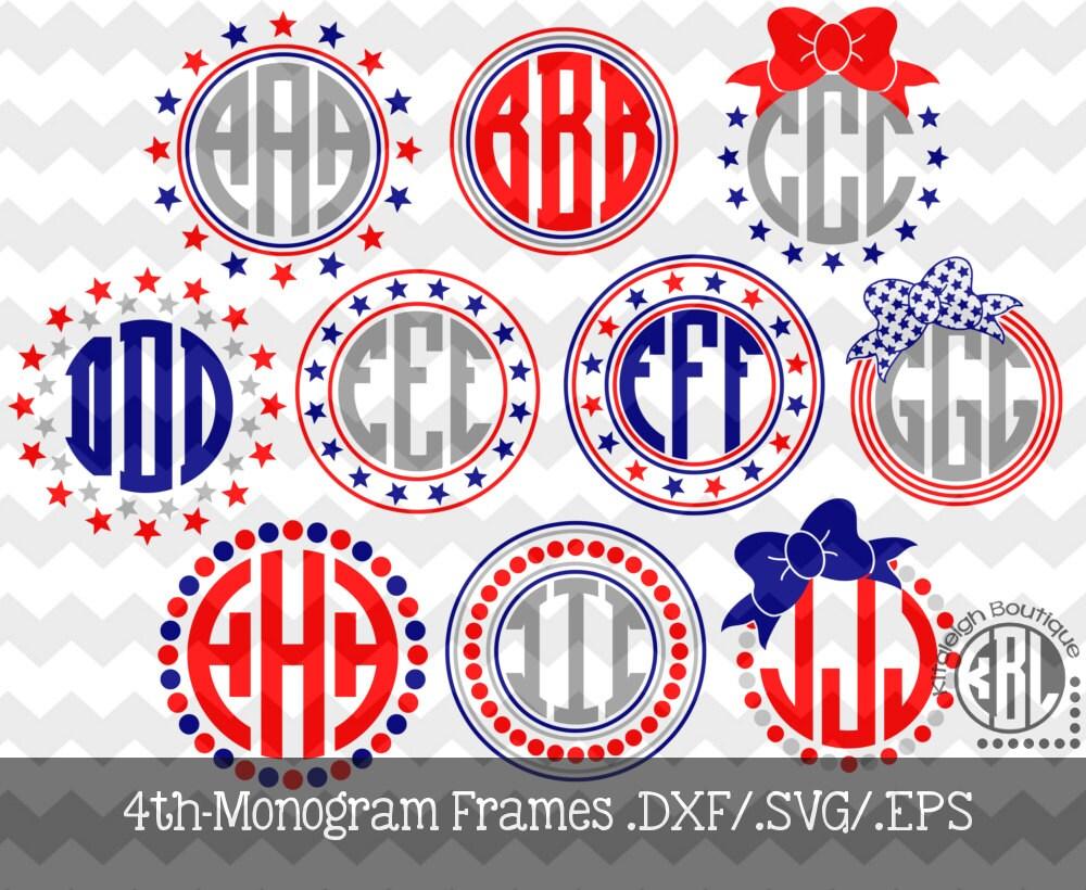 4th of july monogram frames instant download in dxf  svg  eps