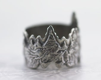 Into the Forest|Reticulated silver and sterling silver ring