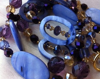 Lavender shell, purple, gold and yellow necklace & earrings set - mauve glass, crystal