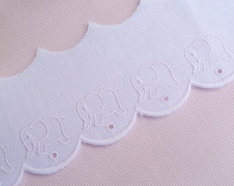 1 Yard Pink Elephant Swiss Cotton Embroidered Edging