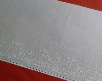 "Merry Christmas 6 1/2"" Wide Swiss Embroidered White Eyelet Edging"