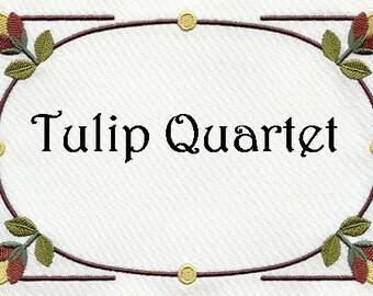 Embroidered Quilt Label Tulip Quartet