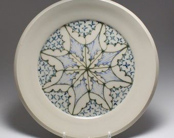 Wheel Thrown Handmade Ceramic Sandwich Plate with Green, Sky and Navy Pattern