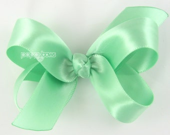 """Satin Hair Bow - 3 inch hair bow, mint green hair bow, silk hair bow, girls hair bows, toddler hair bow, baby hair bow, boutique bows 3"""""""
