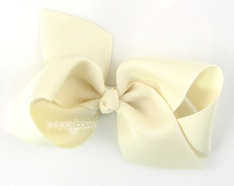 NEW STYLE - Loopy Pinwheel Hair Bow - Ivory Hairbow 3.5 Inch Solid Color Boutique Bow for Baby Toddler Girls 1.5 Inch Wide Ribbon