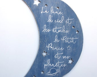 Little Prince Moon Nursery Decor Large Scale Decor Le Petit Prince Crescent Moon Wall Decor