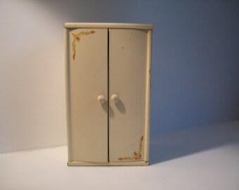 vintage Strombecker doll house wardrobe closet . vintage wooden curio box . solid wood doll furniture . Strombecker doll house furniture