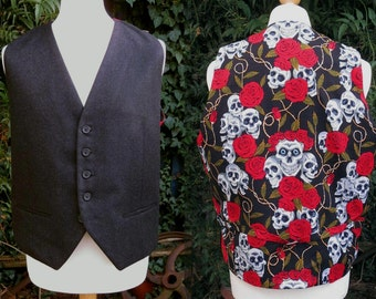 mens black italian wool vest  with skulls and red roses back or any other print  - skull Waistcoat